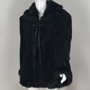 Vintage Dark Black faux fur Utex coat